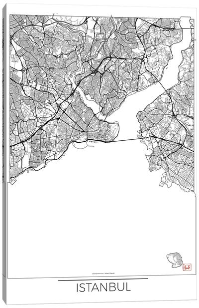 Istanbul Minimal Urban Blueprint Map Canvas Art Print