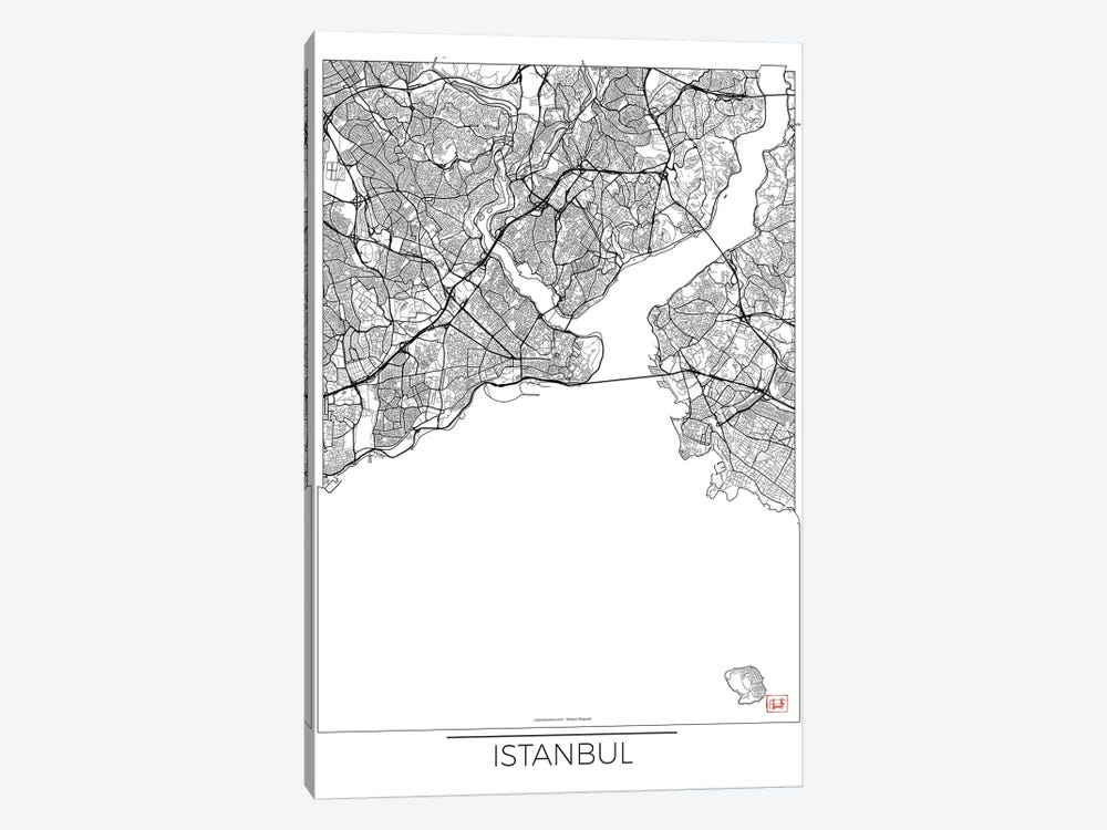Istanbul Minimal Urban Blueprint Map by Hubert Roguski 1-piece Canvas Art Print