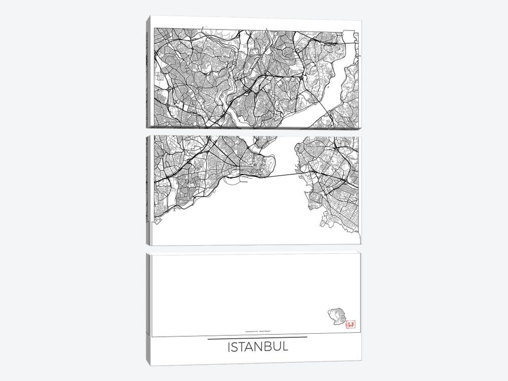 Istanbul Minimal Urban Blueprint Map by Hubert Roguski 3-piece Canvas Print