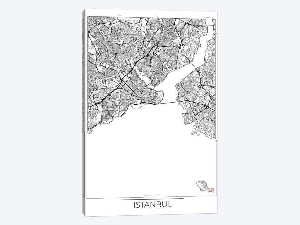 Istanbul Minimal Urban Blueprint Map by Hubert Roguski 1-piece Canvas Art Print