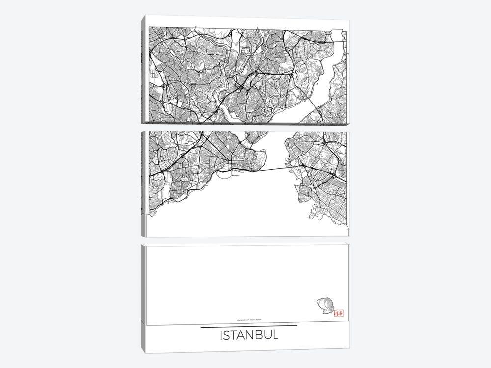 Istanbul Minimal Urban Blueprint Map by Hubert Roguski 3-piece Canvas Print