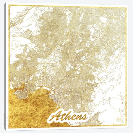 Athens Gold Leaf Urban Blueprint Map Canvas Print #HUR15} by Hubert Roguski Art Print