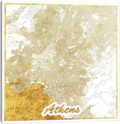 Athens Gold Leaf Urban Blueprint Map Canvas Art Print