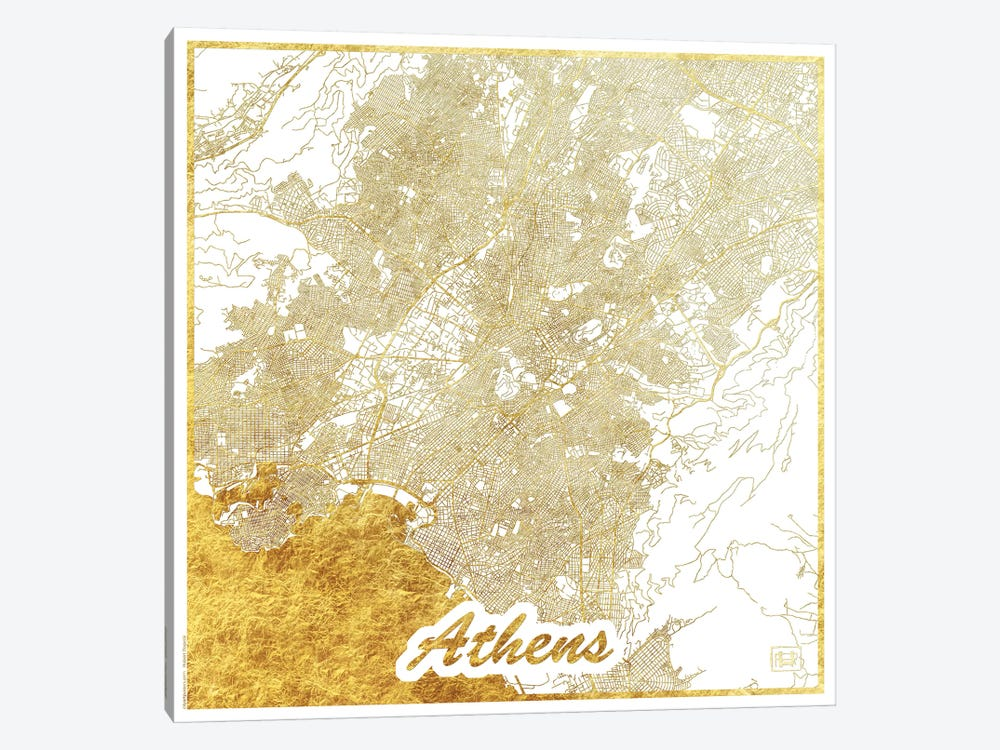 Athens Gold Leaf Urban Blueprint Map by Hubert Roguski 1-piece Canvas Art
