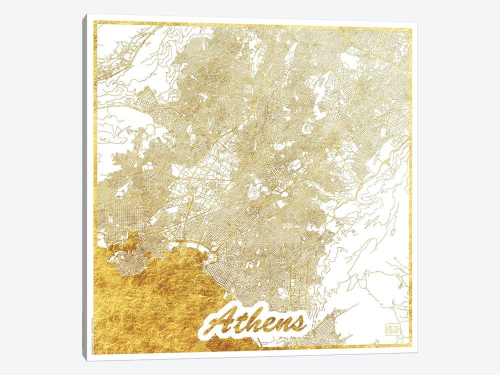 Athens Gold Leaf Urban Blueprint Map by Hubert Roguski 1-piece Canvas Art