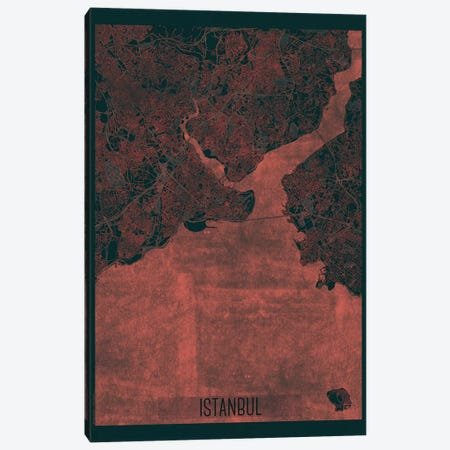 Istanbul Infrared Urban Blueprint Map Canvas Print #HUR160} by Hubert Roguski Art Print
