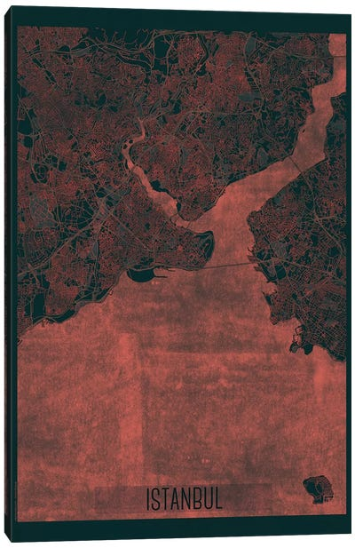 Istanbul Infrared Urban Blueprint Map Canvas Art Print