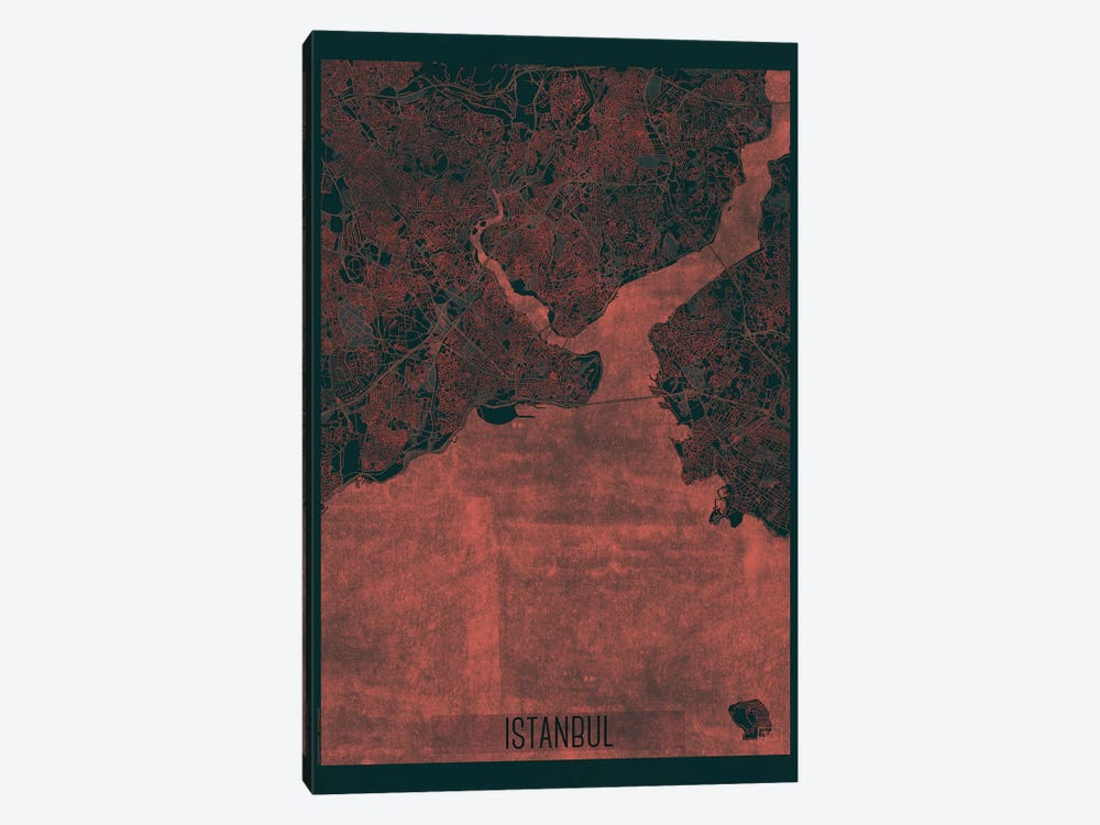 Istanbul Infrared Urban Blueprint Map by Hubert Roguski 1-piece Art Print