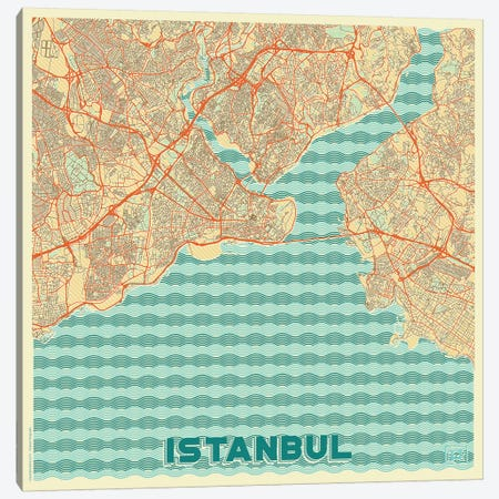 Istanbul Retro Urban Blueprint Map Canvas Print #HUR161} by Hubert Roguski Canvas Art Print