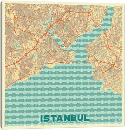 Istanbul Retro Urban Blueprint Map Canvas Art Print