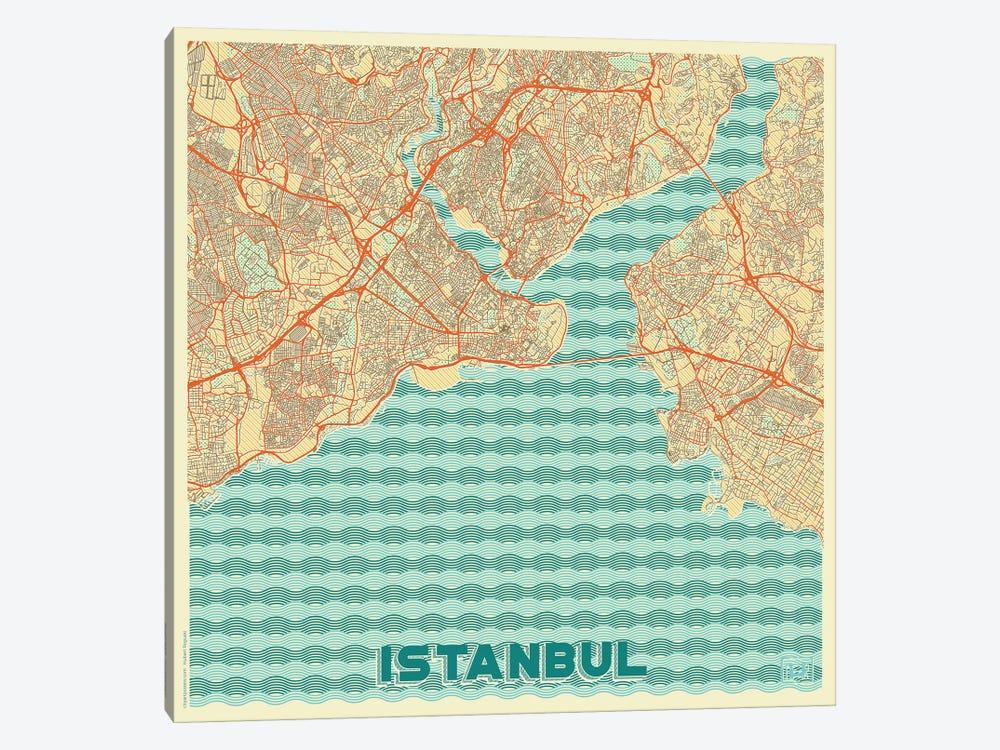 Istanbul Retro Urban Blueprint Map by Hubert Roguski 1-piece Canvas Artwork