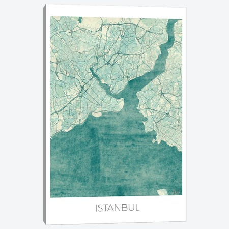 Istanbul Vintage Blue Watercolor Urban Blueprint Map Canvas Print #HUR162} by Hubert Roguski Canvas Print