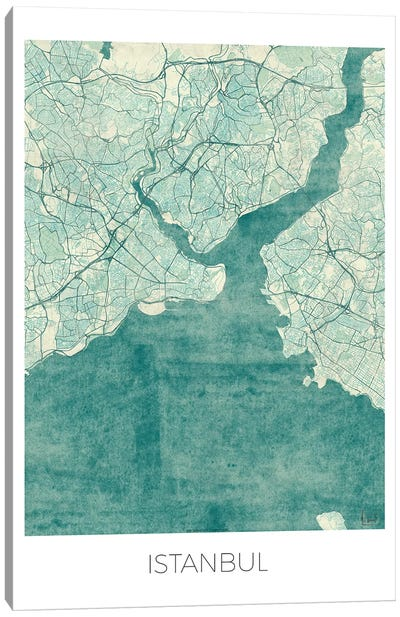 Istanbul Vintage Blue Watercolor Urban Blueprint Map Canvas Art Print