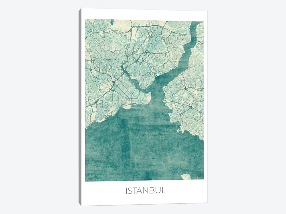 Istanbul Vintage Blue Watercolor Urban Blueprint Map by Hubert Roguski 1-piece Canvas Print