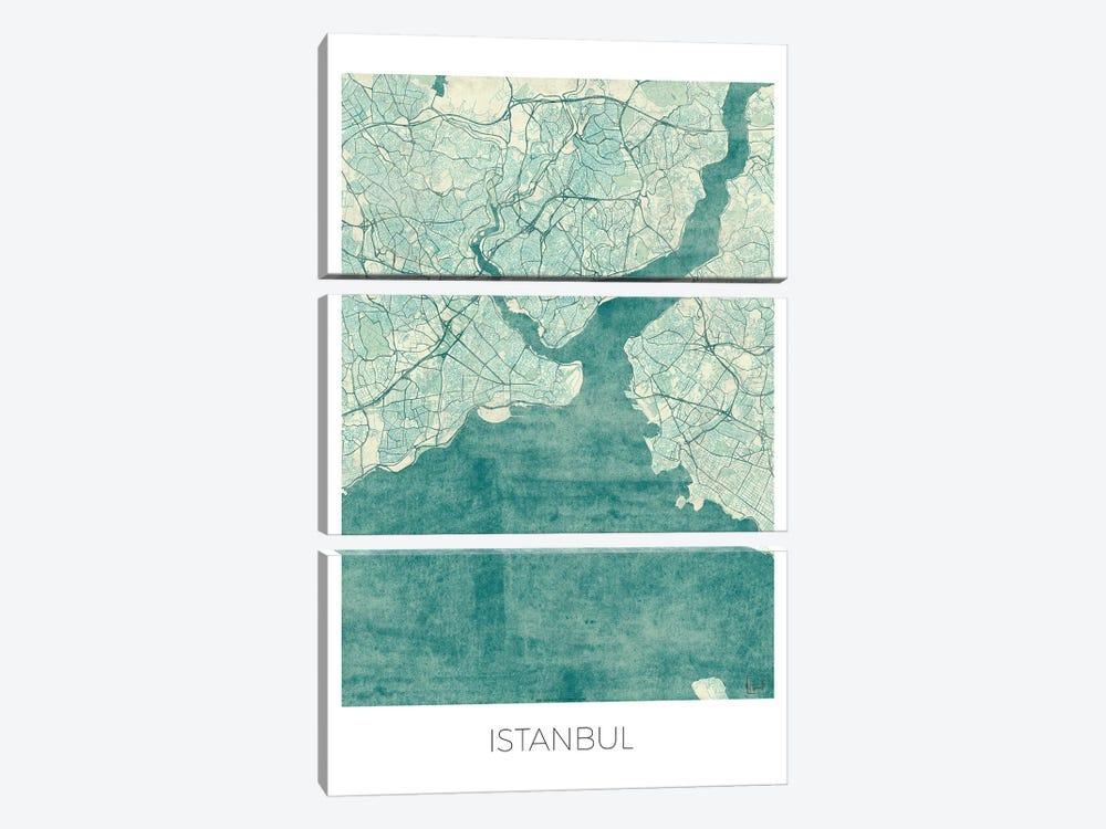 Istanbul Vintage Blue Watercolor Urban Blueprint Map by Hubert Roguski 3-piece Art Print