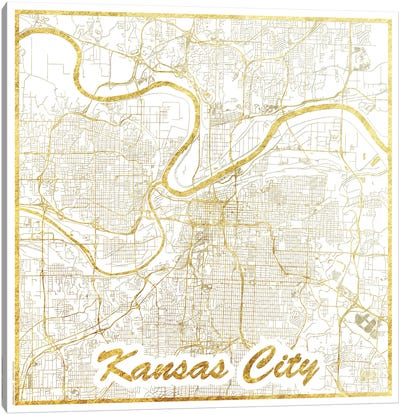 Kansas City Gold Leaf Urban Blueprint Map Canvas Art Print