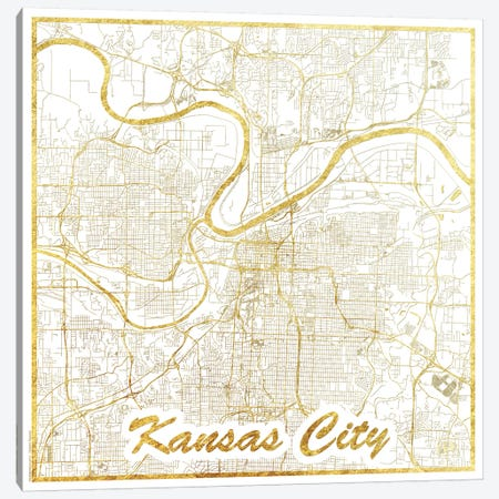 Kansas City Gold Leaf Urban Blueprint Map 3-Piece Canvas #HUR163} by Hubert Roguski Canvas Art Print