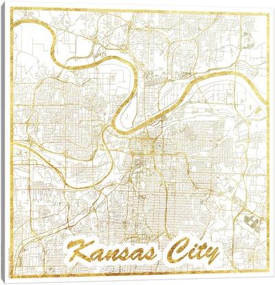 Kansas City Gold Leaf Urban Blueprint Map Canvas Art Print