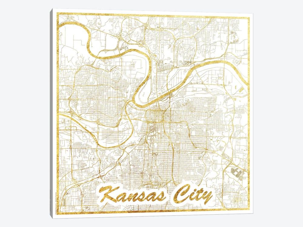 Kansas City Gold Leaf Urban Blueprint Map by Hubert Roguski 1-piece Canvas Art