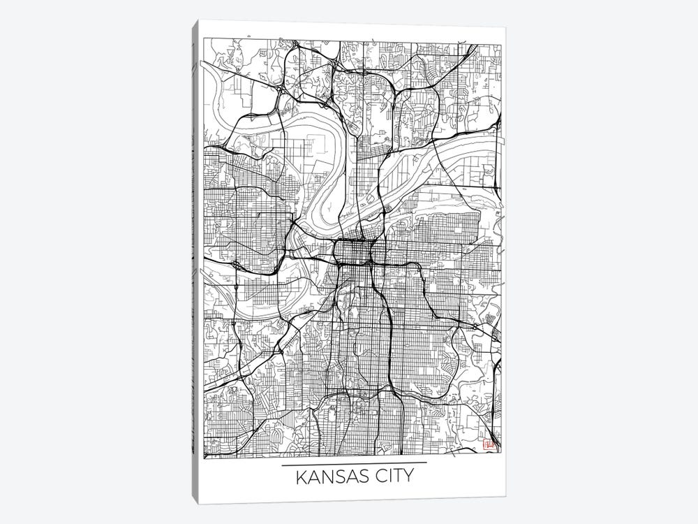 Kansas City Minimal Urban Blueprint Map 1-piece Canvas Print