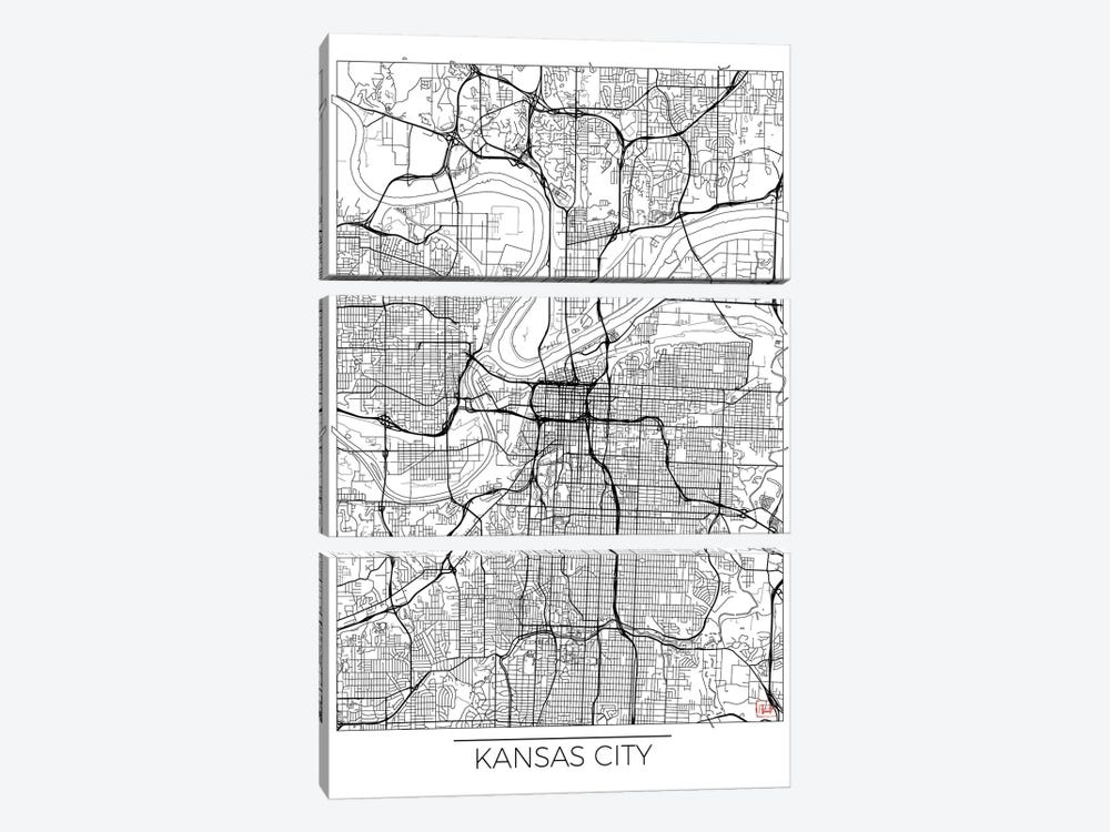 Kansas City Minimal Urban Blueprint Map by Hubert Roguski 3-piece Canvas Print