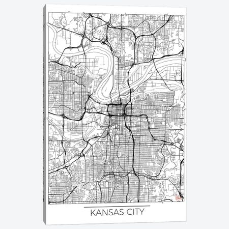 Kansas City Minimal Urban Blueprint Map 3-Piece Canvas #HUR164} by Hubert Roguski Canvas Art
