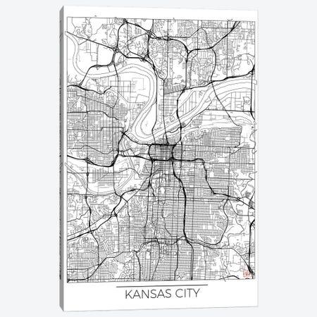 Kansas City Minimal Urban Blueprint Map Canvas Print #HUR164} by Hubert Roguski Canvas Art