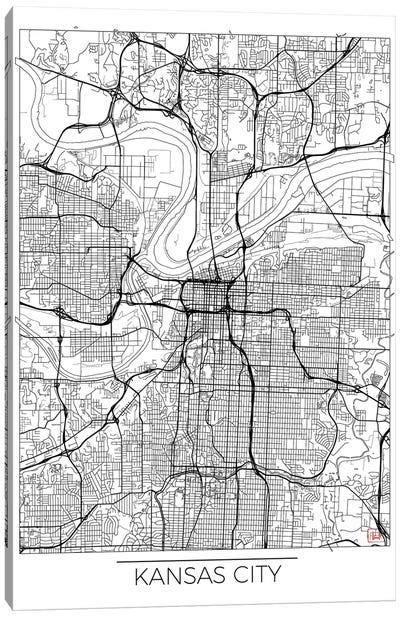 Kansas City Minimal Urban Blueprint Map Canvas Art Print