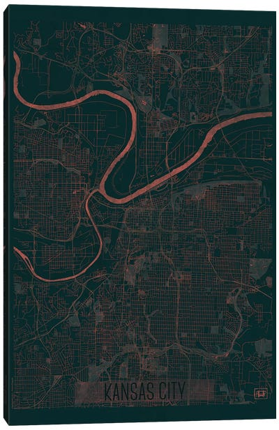 Kansas City Infrared Urban Blueprint Map Canvas Art Print