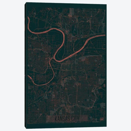 Kansas City Infrared Urban Blueprint Map 3-Piece Canvas #HUR165} by Hubert Roguski Canvas Art