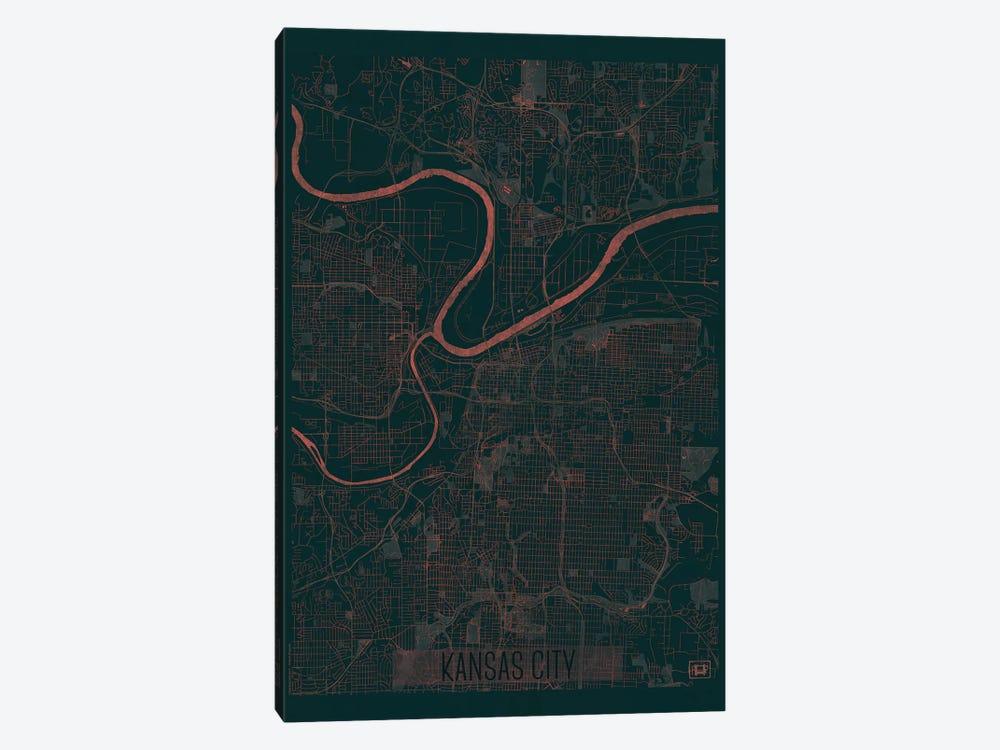 Kansas City Infrared Urban Blueprint Map by Hubert Roguski 1-piece Canvas Artwork