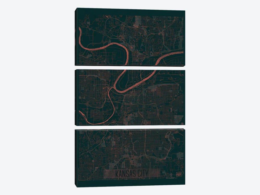 Kansas City Infrared Urban Blueprint Map by Hubert Roguski 3-piece Canvas Wall Art