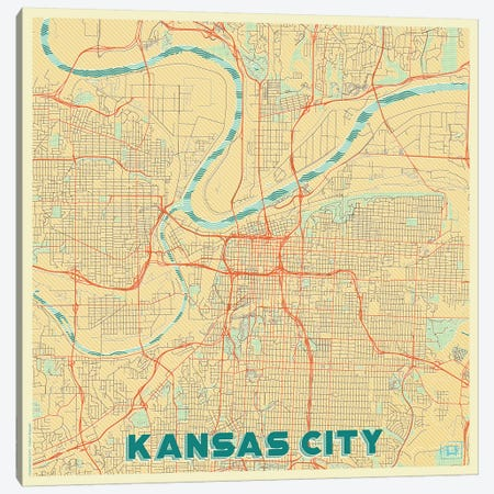 Kansas City Retro Urban Blueprint Map 3-Piece Canvas #HUR166} by Hubert Roguski Canvas Wall Art