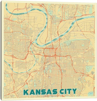 Kansas City Retro Urban Blueprint Map Canvas Art Print