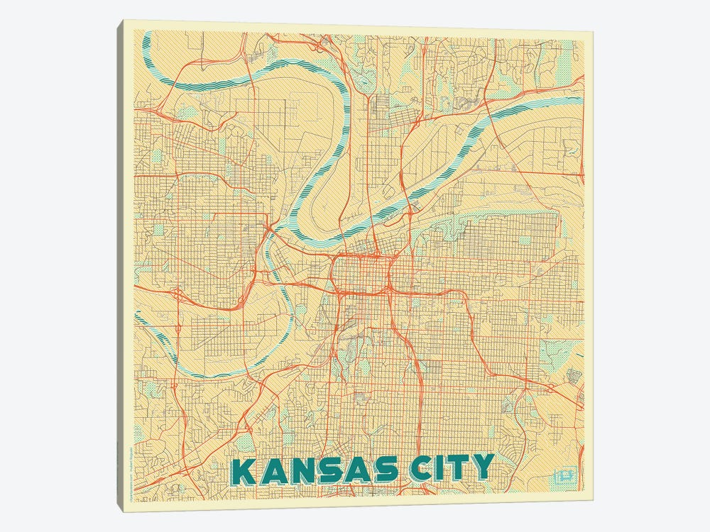 Kansas City Retro Urban Blueprint Map by Hubert Roguski 1-piece Canvas Art Print