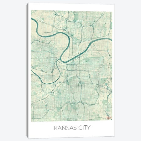 Kansas City Vintage Blue Watercolor Urban Blueprint Map Canvas Print #HUR167} by Hubert Roguski Canvas Art