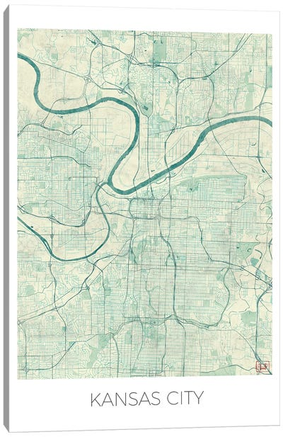 Kansas City Vintage Blue Watercolor Urban Blueprint Map Canvas Art Print