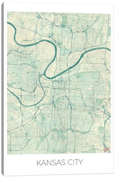 Kansas City Vintage Blue Watercolor Urban Blueprint Map Canvas Art Print
