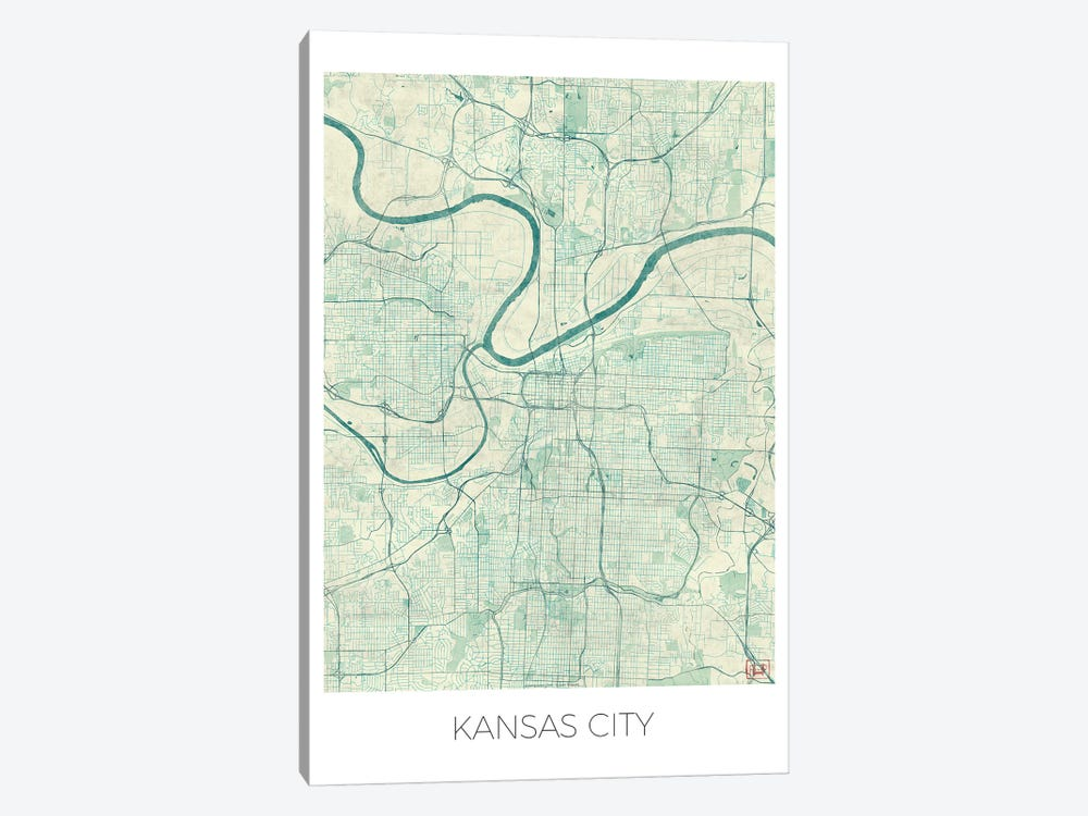 Kansas City Vintage Blue Watercolor Urban Blueprint Map by Hubert Roguski 1-piece Canvas Art