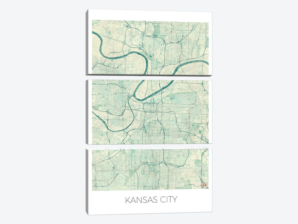Kansas City Vintage Blue Watercolor Urban Blueprint Map by Hubert Roguski 3-piece Canvas Art