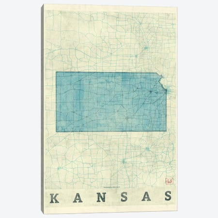 Kansas Map 3-Piece Canvas #HUR168} by Hubert Roguski Art Print