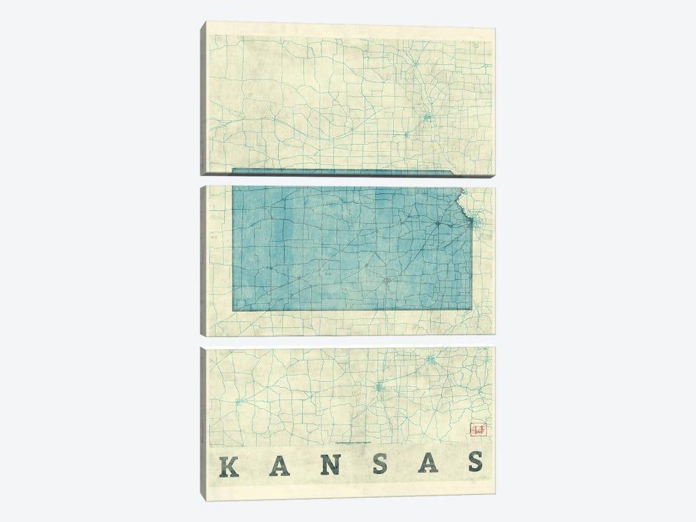 Kansas Map by Hubert Roguski 3-piece Art Print