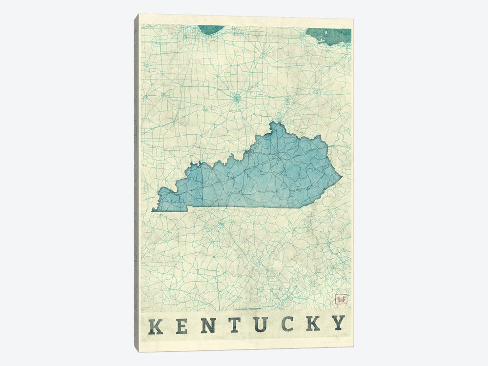 Kentucky Map 1-piece Canvas Wall Art
