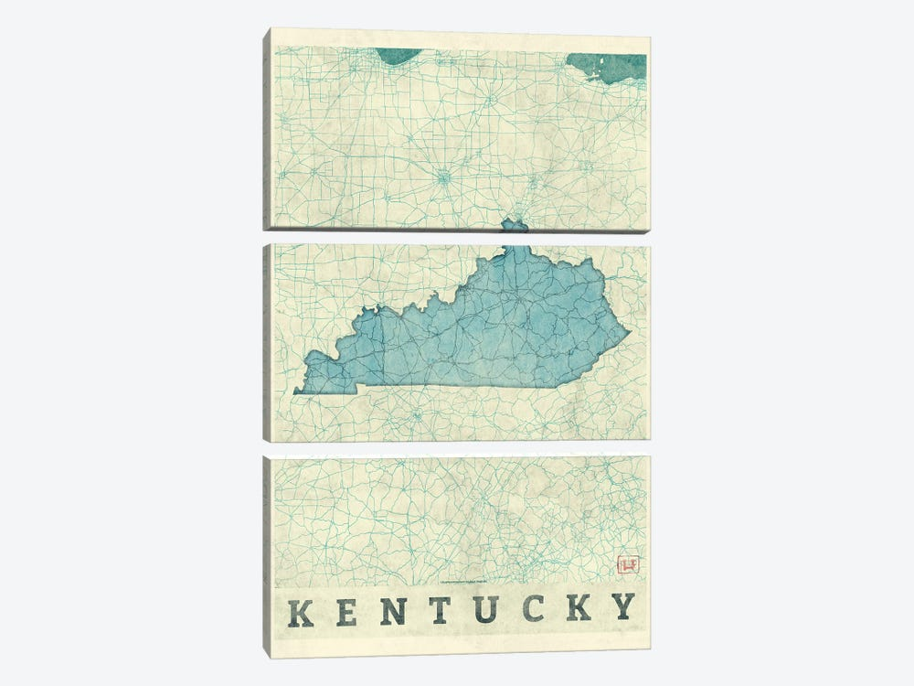 Kentucky Map by Hubert Roguski 3-piece Canvas Art