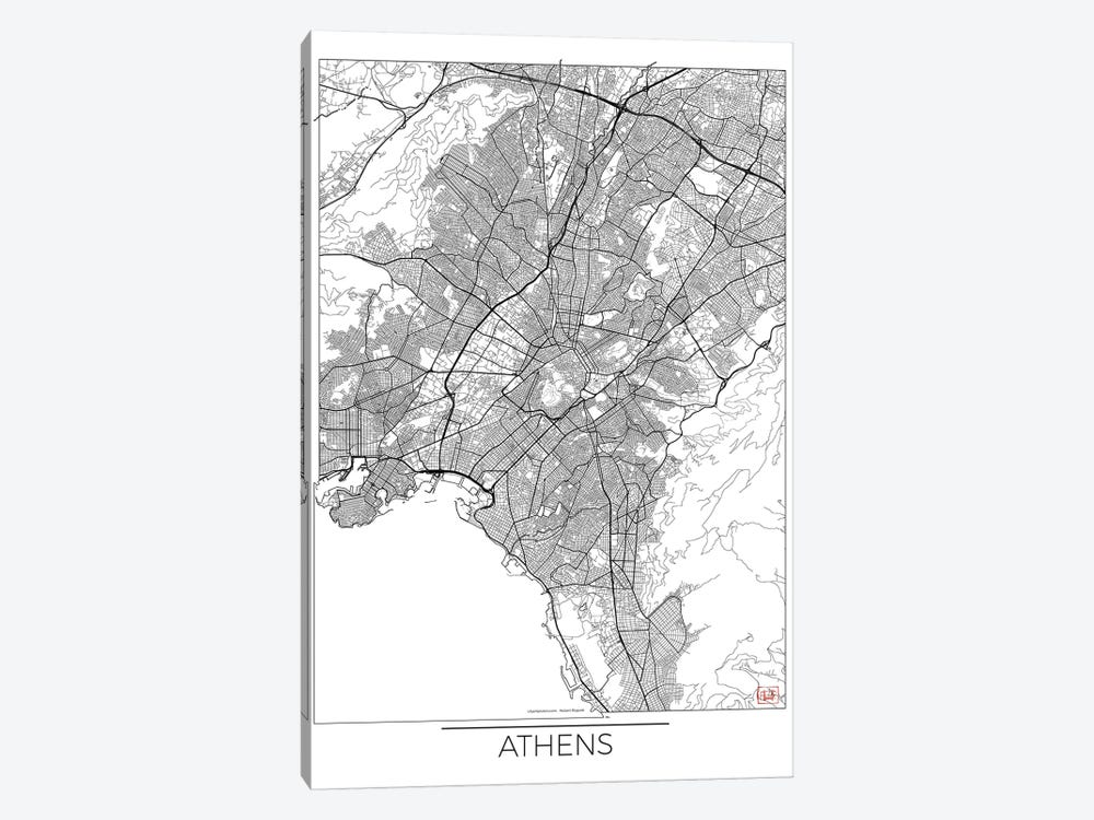 Athens Minimal Urban Blueprint Map by Hubert Roguski 1-piece Canvas Art Print