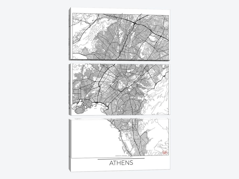 Athens Minimal Urban Blueprint Map by Hubert Roguski 3-piece Canvas Art Print