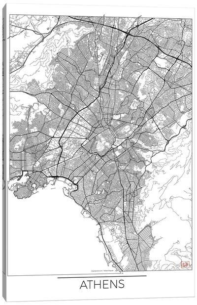 Athens Minimal Urban Blueprint Map Canvas Art Print