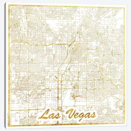 Las Vegas Gold Leaf Urban Blueprint Map Canvas Print #HUR170} by Hubert Roguski Canvas Wall Art