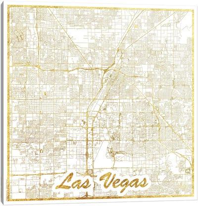 Las Vegas Gold Leaf Urban Blueprint Map Canvas Art Print