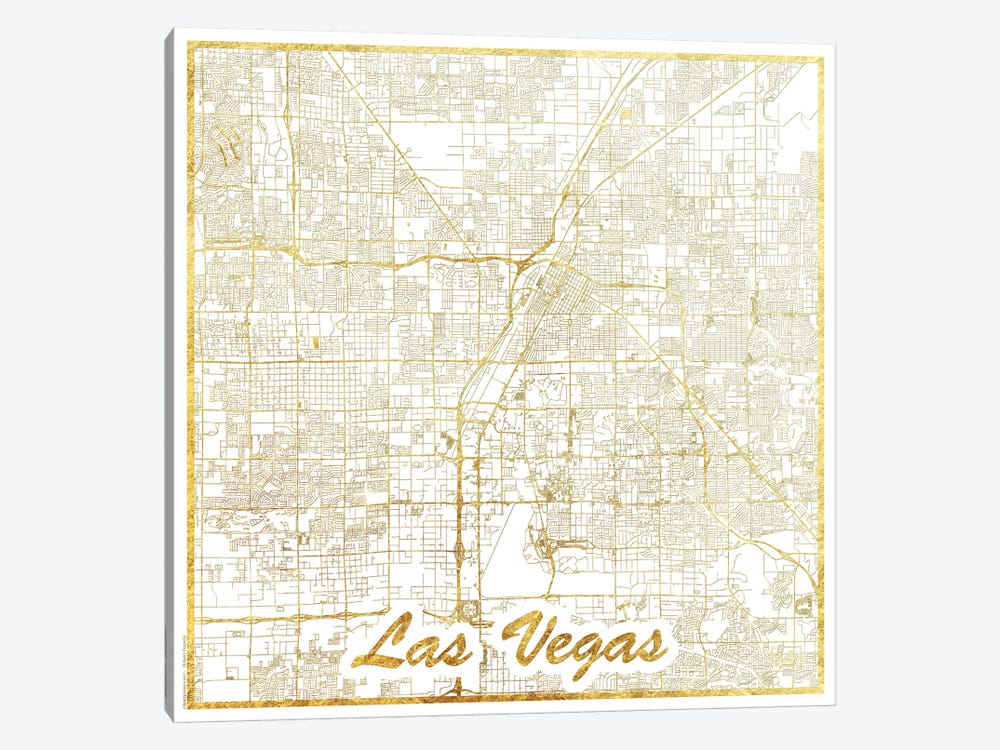 Las Vegas Gold Leaf Urban Blueprint Map by Hubert Roguski 1-piece Canvas Wall Art